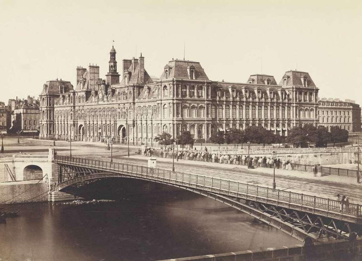 """Edouard Baldus 1855 """"Pont d'Arcole and the Hotel de Ville."""" Dilute albumen print"""