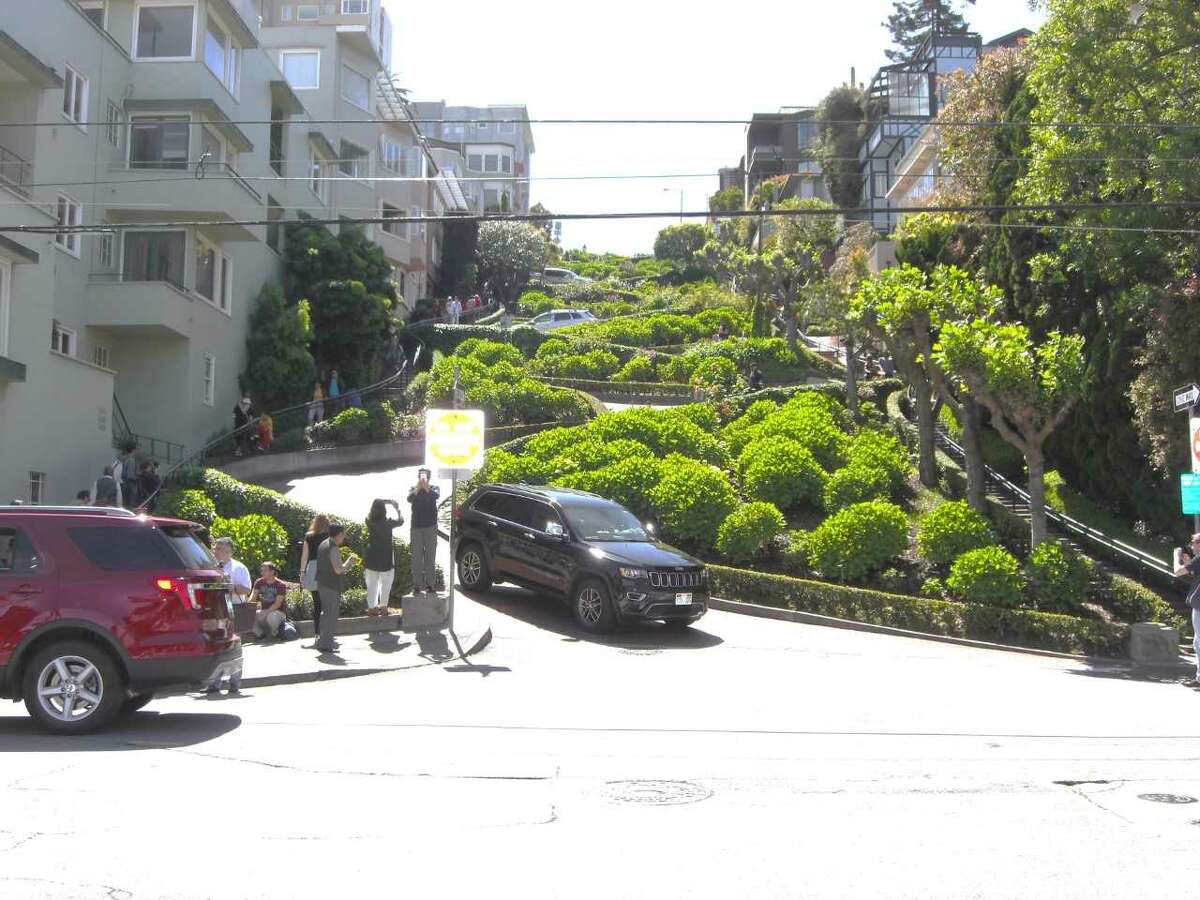"""A stretch San Francisco's Lombard Street, frequently known as """"the crookedest street in the world,"""" offers a challenge for drivers. (Photo by Ronald Shapiro)"""