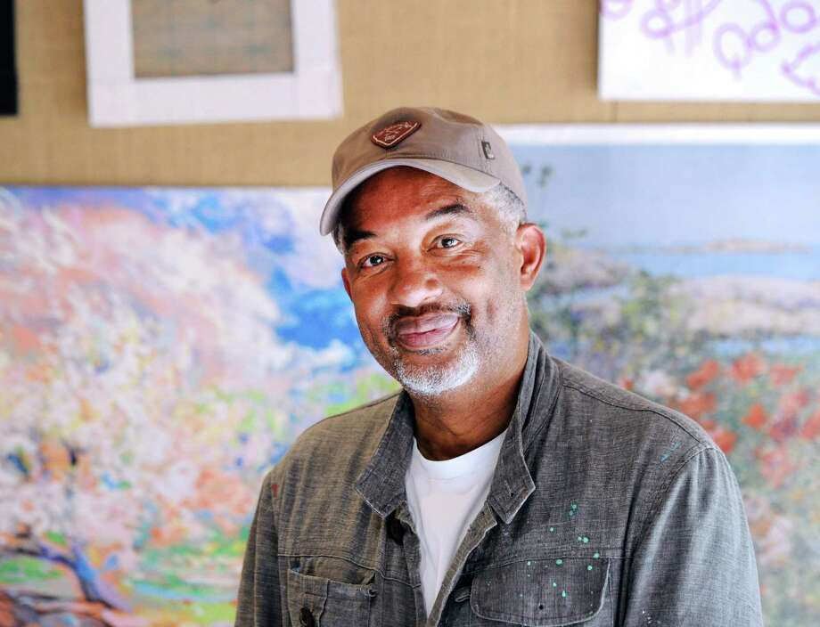 Greenwich resident Dmitri Wright, an artist and an educator, during the art class he was teaching on impressionistic painting at the Weir Farm National Historic Site in Wilton, Conn., Saturday, July 14, 2018. Photo: Bob Luckey Jr. / Hearst Connecticut Media / Greenwich Time