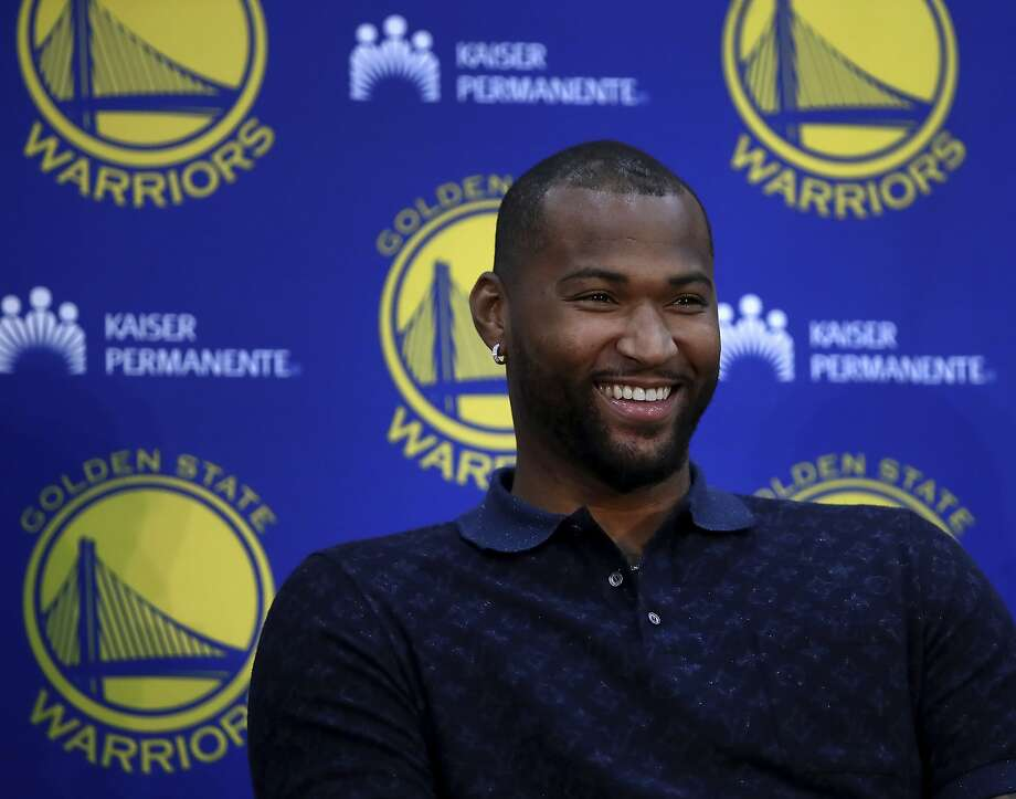 Golden State Warriors' DeMarcus Cousins smiles during a media conference Thursday, July 19, 2018, in Oakland, Calif. Cousins signed a one-year, $5.3M deal with the defending champion Warriors. (AP Photo/Ben Margot) Photo: Ben Margot / Associated Press