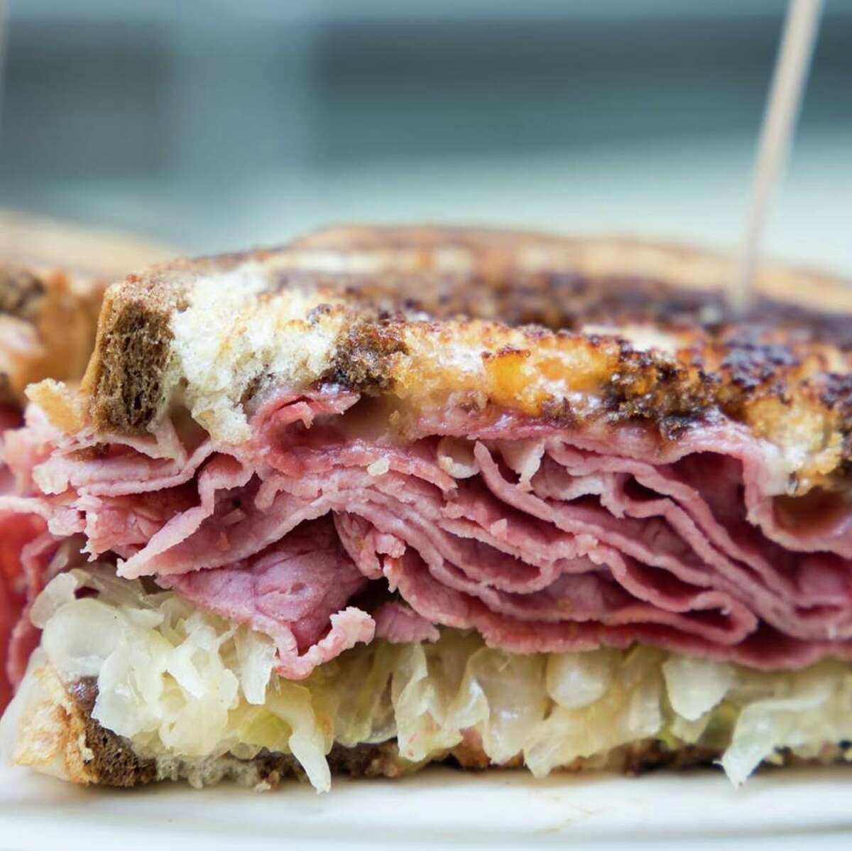 A Reuben with crunchy kraut and corned beef at Saratoga's Broadway Deli.