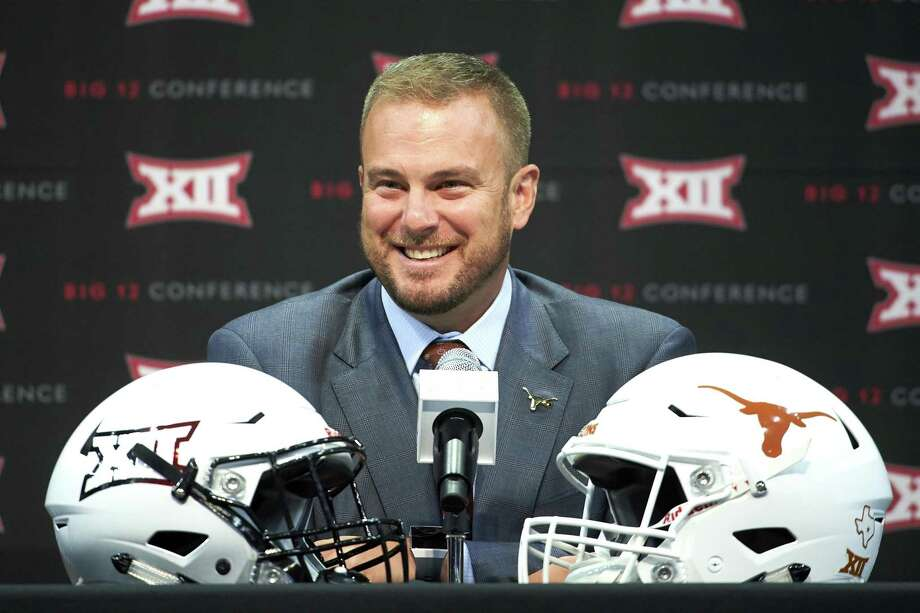 Texas football head coach Tom Herman speaks during NCAA college football Big 12 media days in Frisco, Texas, Tuesday, July 17, 2018. (AP Photo/Cooper Neill) Photo: Cooper Neill, FRE / Associated Press / FR171332 AP
