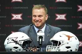 Texas football head coach Tom Herman speaks during NCAA college football Big 12 media days in Frisco, Texas, Tuesday, July 17, 2018. (AP Photo/Cooper Neill)