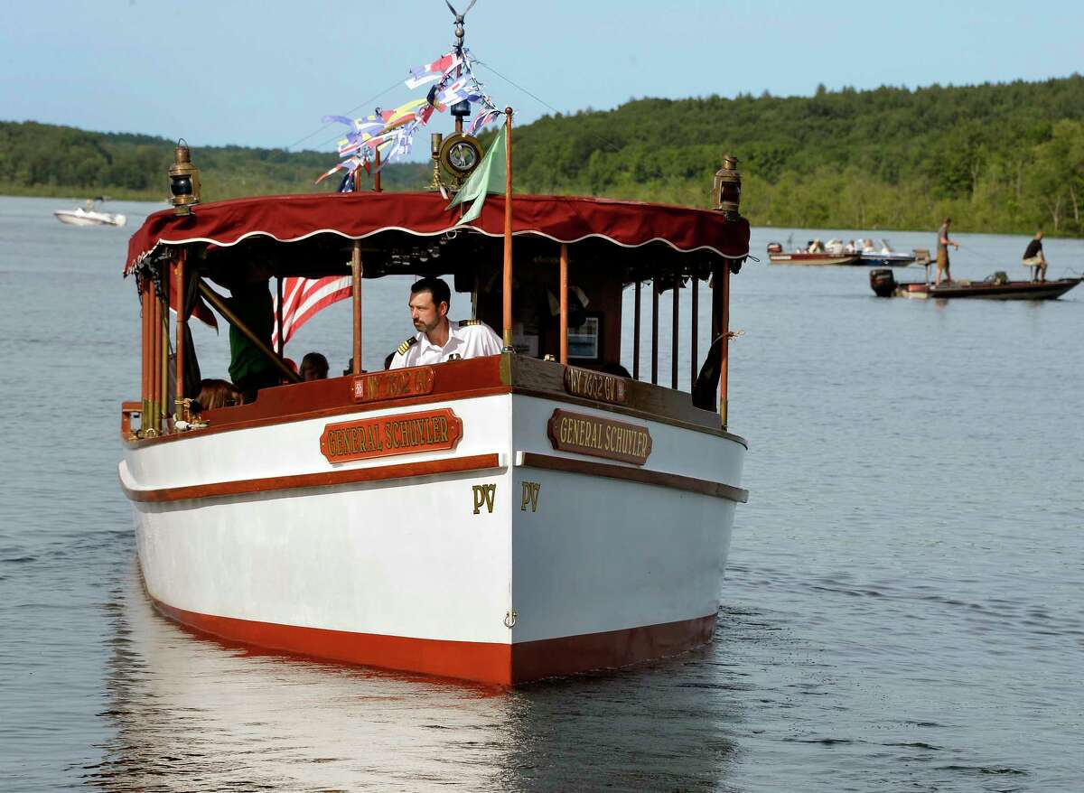 Captain Hal Raven, owner of Adirondack Cruise & Charter Co., pilots the General Schuyler, a 50 foot classic 1900?'s style Fantail Launch on a tour of Saratoga Lake Tuesday June 26, 2018 in Saratoga Springs, NY. (John Carl D'Annibale/Times Union)