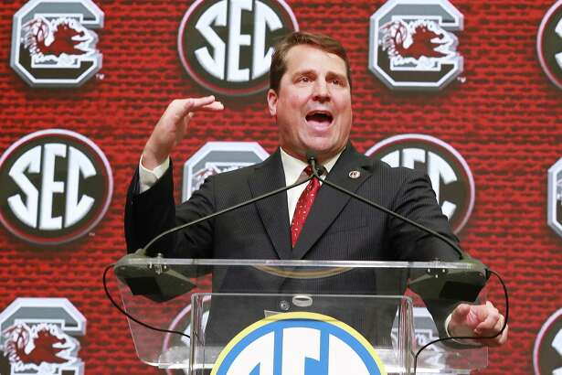 South Carolina head coach Will Muschamp holds his SEC Media Days press conference at the College Football Hall of Fame on Thursday, July 19, 2018, in Atlanta.