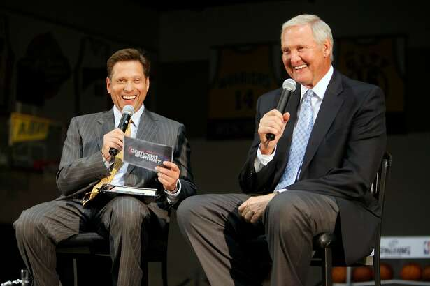 "CSN Bay Area's Greg Papa interviews Jerry West on a special edition of ""Chronicle Live"" at the Warriors Practice Facility in Oakland, Calif. on Thursday night Nov. 3, 2011."