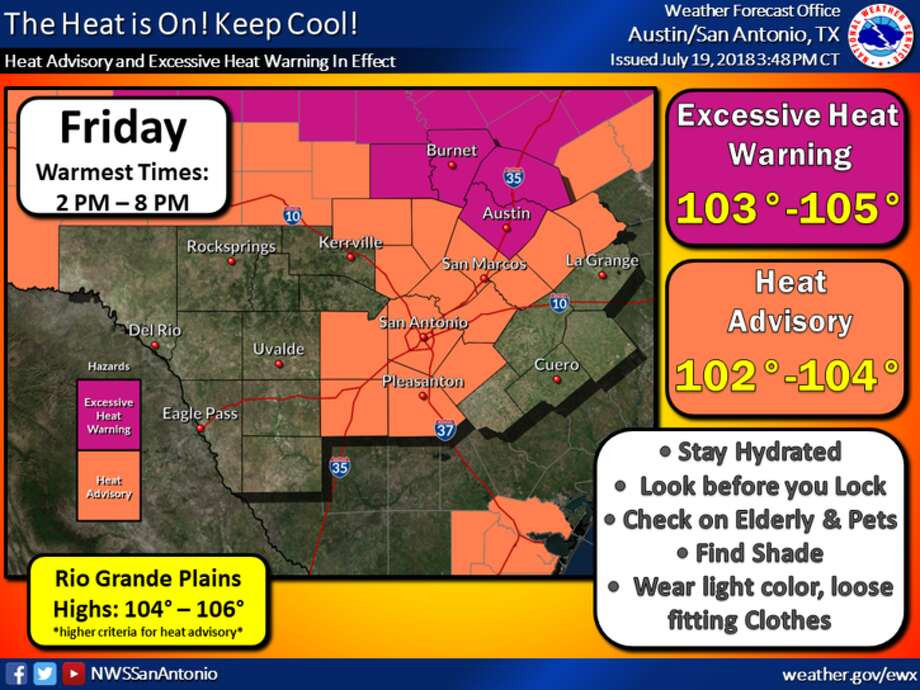 A heat advisory was issued for Friday afternoon in San Antonio. Photo: National Weather Service