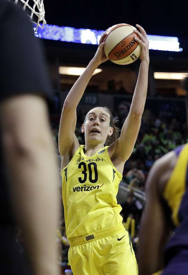 Seattle Storm's Breanna Stewart grabs a rebound against the Los Angeles Sparks in the first half of a WNBA basketball game Tuesday, July 10, 2018, in Seattle. (AP Photo/Elaine Thompson) Photo: Elaine Thompson, Associated Press