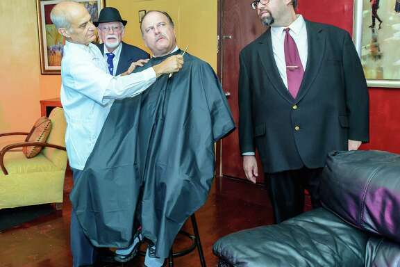 """John Lofaro play the barber, left shaves Frank Green who play Harry Brock as Steven Sara plays Carl Devery, right as Bill Low plays Eddie looks on in the background during the rehearsal of """"Born Yesterday"""" at Franca's Real Italian Restaurant in Clear Lake, TX 07/18/18 (Photos by ©Kim Christensen)"""