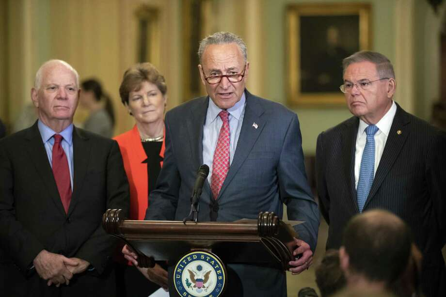 On Tuesday, Senate Minority Leader Chuck Schumer, D-N.Y., joined, from left, by Sen. Ben Cardin, D-Md., Sen. Jeanne Shaheen, D-N.H., and Sen. Bob Menendez, D-N.J., criticizes President Donald Trump and his Helsinki summit with Russian President Vladimir Putin. As usual, Democrats are overplaying their hand. The press conference with Putin was an embarrassment, not a disaster. Photo: J. Scott Applewhite /Associated Press / Copyright 2018 The Associated Press. All rights reserved