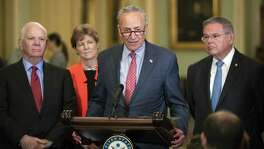 On Tuesday, Senate Minority Leader Chuck Schumer, D-N.Y., joined, from left, by Sen. Ben Cardin, D-Md., Sen. Jeanne Shaheen, D-N.H., and Sen. Bob Menendez, D-N.J., criticizes President Donald Trump and his Helsinki summit with Russian President Vladimir Putin. As usual, Democrats are overplaying their hand. The press conference with Putin was an embarrassment, not a disaster.