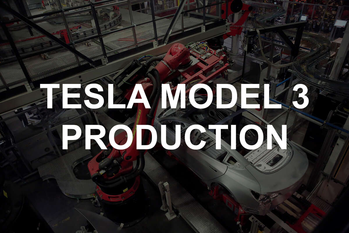 Take a look inside the Tesla factory at the production of Tesla Model 3 cars.