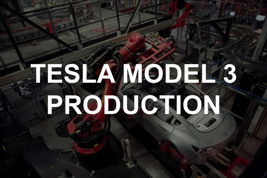 Take a look inside the Tesla factory at the production of Tesla Model 3 cars. Photo: Lea Suzuki / The Chronicle