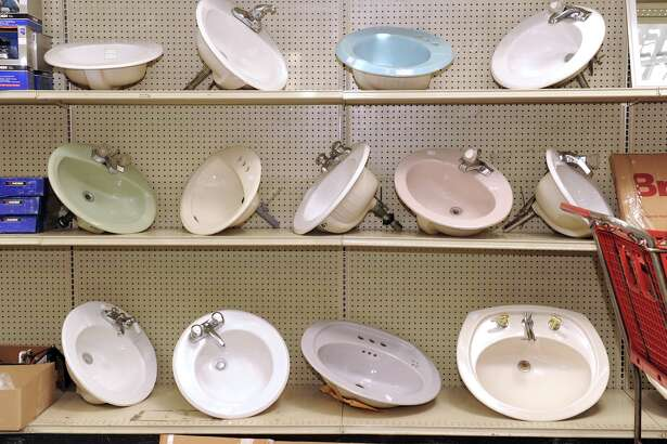 Bathroom sinks are on display at the new Habitat for Humanity's Restore in Danbury, Friday, May 13, 2011.