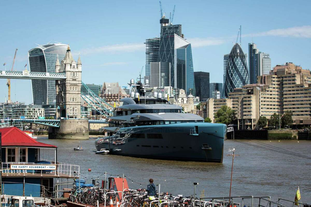 LONDON, ENGLAND - JULY 03: Aviva, a luxury yacht belonging to billionaire Tottenham Hotspur owner Joe Lewis, is pictured moored by Butler's Wharf on July 3, 2018 in London, England. The multi-million pound 322ft-long vessel was built for Lewis in 2007 by German builder Abeking & Rasmussen. (Photo by Jack Taylor/Getty Images)