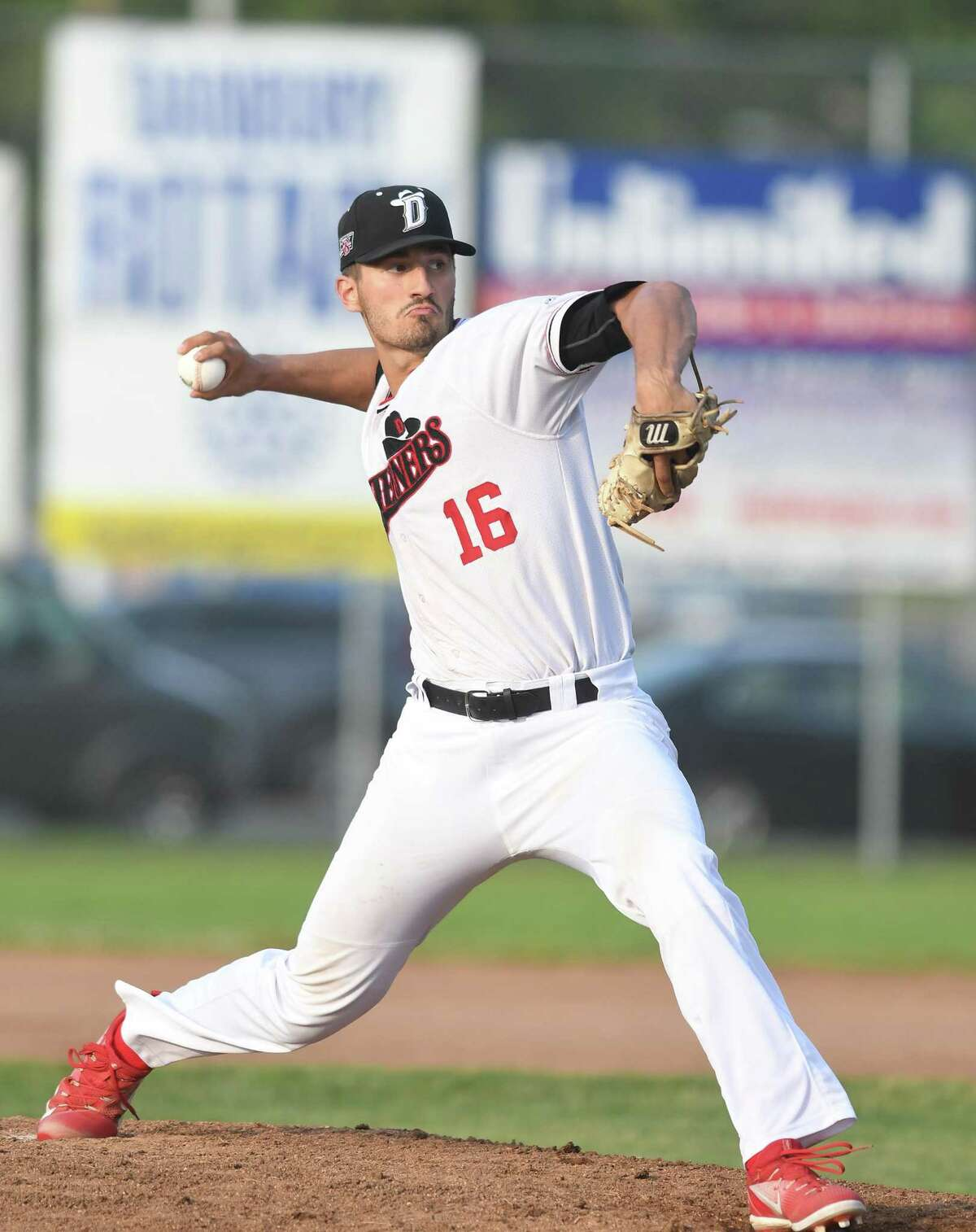Danbury Westerner pitcher Kevin Stone, of Stamford, pitches in his game against the Mystic Schooners in Danbury, June 21, 2018.