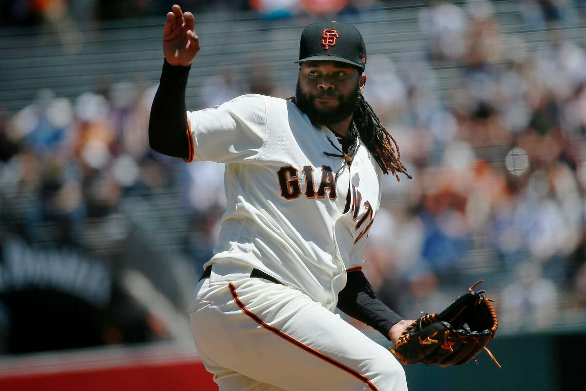 San Francisco Giants starting pitcher Johnny Cueto (47) throws during the top of the first inning of an MLB game between the San Francisco Giants and Chicago Cubs at AT&T Park, Wednesday, July 11, 2018, in San Francisco, Calif.