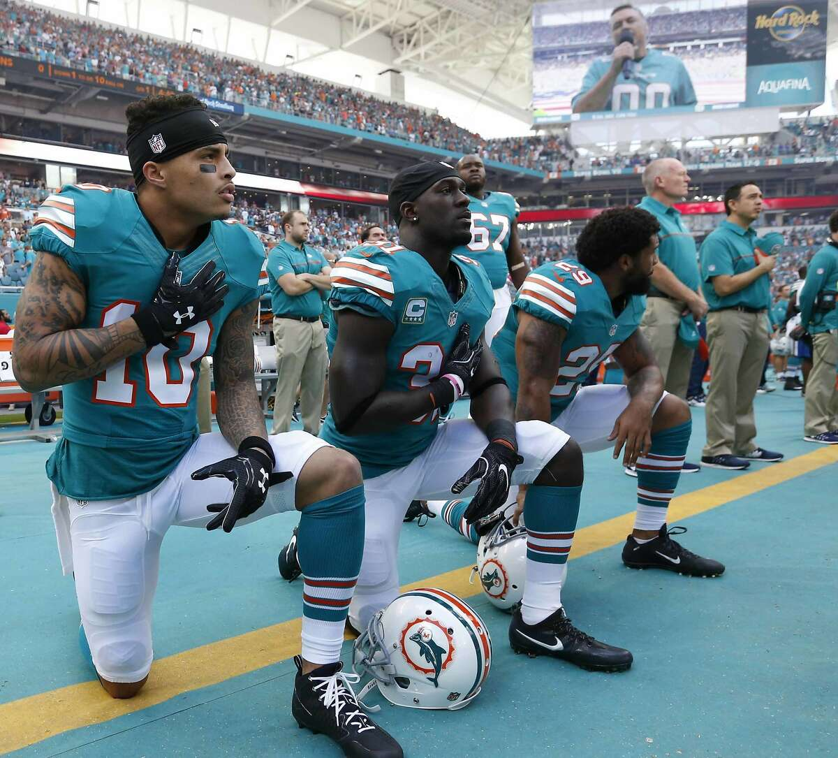 In the last week, the Texans have traded for wide receiver Kenny Stills (pictured far-left) and left tackle Laremy Tunsil of the Miami Dolphins, as well as Carlos Hyde of the Kansas City Chiefs. >>>Here's what you need to know about the team's new acquisitions. (AP Photo/Wilfredo Lee, File)