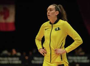 Seattle Storm forward Breanna Stewart warms up before a game against the Liberty.