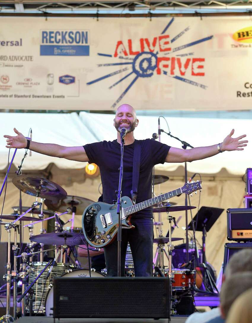 Bands Vertical Horzon, Tonic and The Gin Blossoms rock the crowd gather for the Alive@Five concert series in Columbus Park on July 19, 2018 in Stamford, Connecticut.