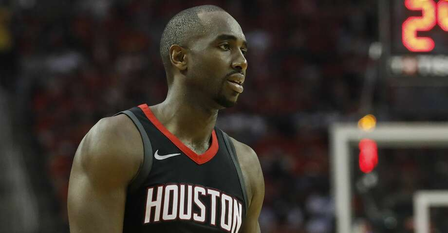 HOUSTON, TX - APRIL 29:  Luc Mbah a Moute #12 of the Houston Rockets reacts in the first half during Game One of the Western Conference Semifinals of the 2018 NBA Playoffs against the Utah Jazz at Toyota Center on April 29, 2018 in Houston, Texas.  NOTE TO USER: User expressly acknowledges and agrees that, by downloading and or using this photograph, User is consenting to the terms and conditions of the Getty Images License Agreement.  (Photo by Tim Warner/Getty Images) Photo: Tim Warner/Getty Images