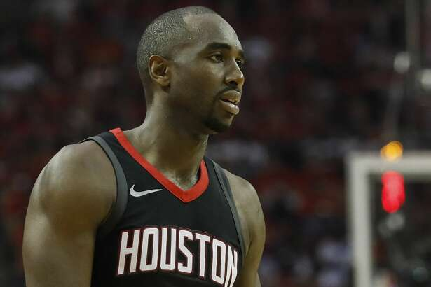 HOUSTON, TX - APRIL 29:  Luc Mbah a Moute #12 of the Houston Rockets reacts in the first half during Game One of the Western Conference Semifinals of the 2018 NBA Playoffs against the Utah Jazz at Toyota Center on April 29, 2018 in Houston, Texas.  NOTE TO USER: User expressly acknowledges and agrees that, by downloading and or using this photograph, User is consenting to the terms and conditions of the Getty Images License Agreement.  (Photo by Tim Warner/Getty Images)