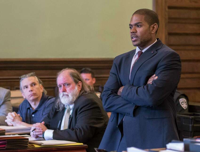 Special prosecutor Jasper Mills presents his case during the start of the retrial of Richard J. Wright on his previous conviction for murder and arson which he has spent 32 years in jail Monday July 9, 2018 at the Rensselaer County Courthouse in Troy, N.Y. (Skip Dickstein/Times Union)