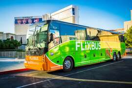 Interiors and exteriors of Flixbus buses that travel between SF, LA and several other US cities