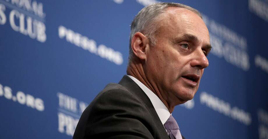 WASHINGTON, DC - JULY 16:  Major League Baseball Commissioner Rob Manfred speaks at the National Press Club July 16, 2018 in Washington, DC. The MLB All-Star game will be held tomorrow at Nationals Park.  (Photo by Win McNamee/Getty Images) Photo: Win McNamee