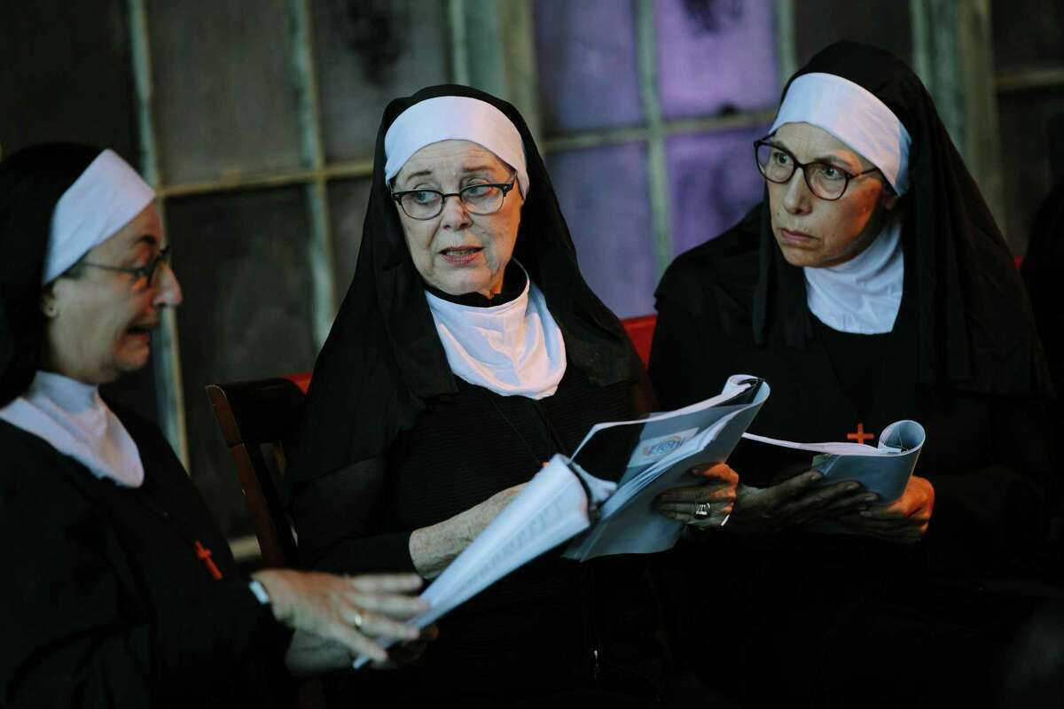 """Cast members perform the Off the Page staged reading of """"The Abbess of Crewe"""" by Muriel Spark at Z Space in San Francisco."""