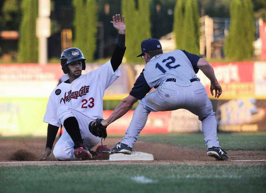 Tri-City ValleyCats Gilberto Celestino (23) is tagged out by Brooklyn Cyclones third baseman Chandler Avant (12) during a minor league baseball game Thursday, July 19, 2018, in Troy, N.Y. (Hans Pennink / Special to the Times Union) Photo: Hans Pennink / Hans Pennink