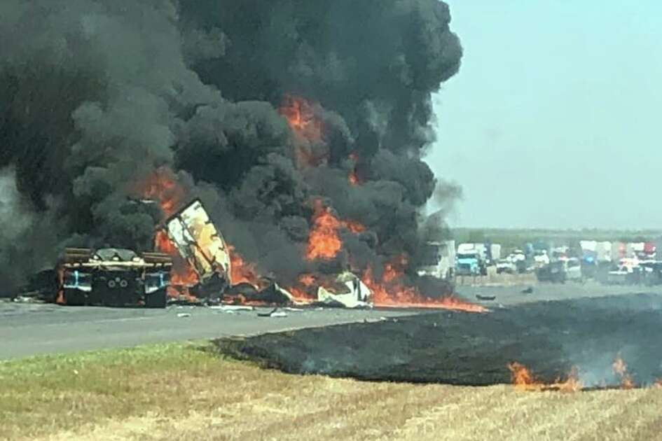 Four tractor-trailers collided on Thursday afternoon on Interstate 35, north of Laredo.
