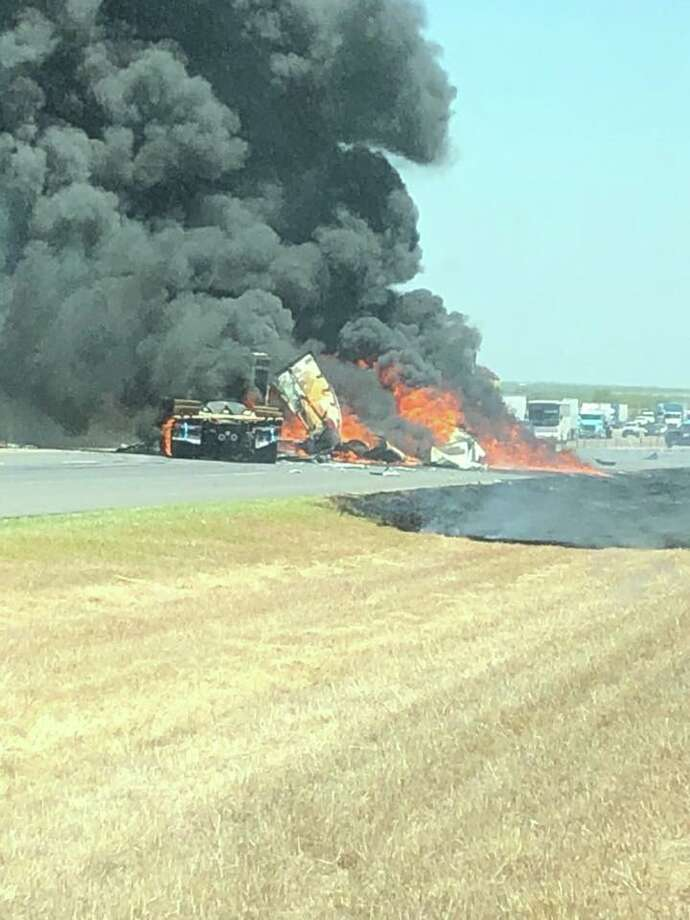 Four tractor-trailers collided on Thursday afternoon on Interstate 35, north of Laredo. Photo: Courtesy Webb County Sheriff's Office