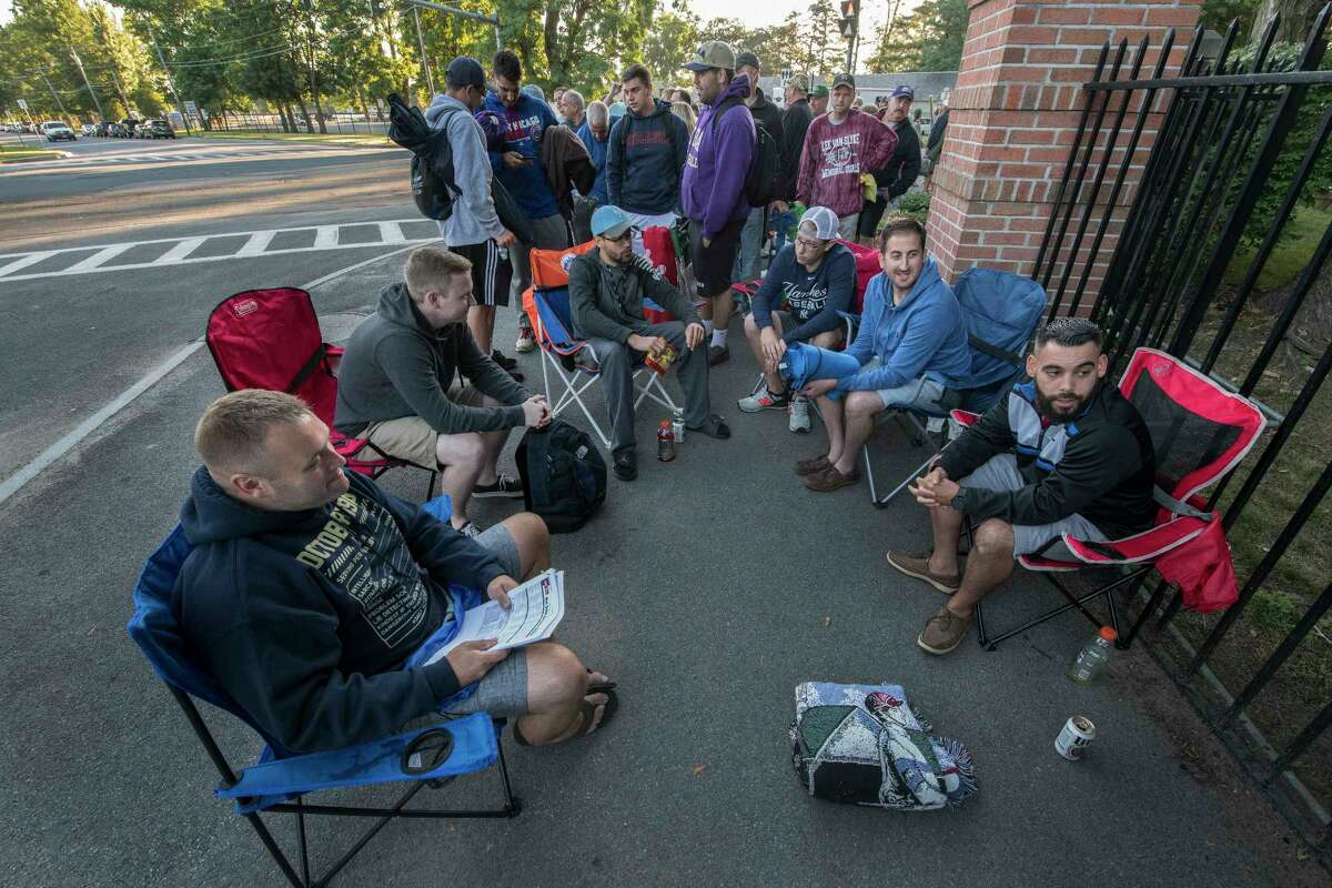 Hundreds of racing patrons wait for their chance to claim a picnic table for Opening day at the Saratoga Race Course Friday July 20, 2018 in Saratoga Springs, N.Y. (Skip Dickstein/Times Union)