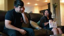Peyton Howell, 17, listens to his mother Theresa recount the emotional journey toward medical treatment of hepatitis C, a chronic liver infection he contracted in utero.