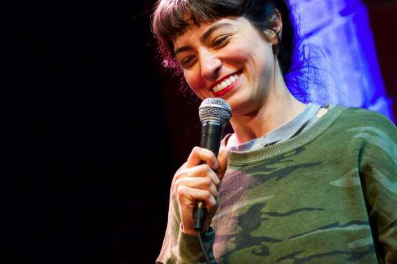 Melissa Villaseñor performs her stand-up routine.