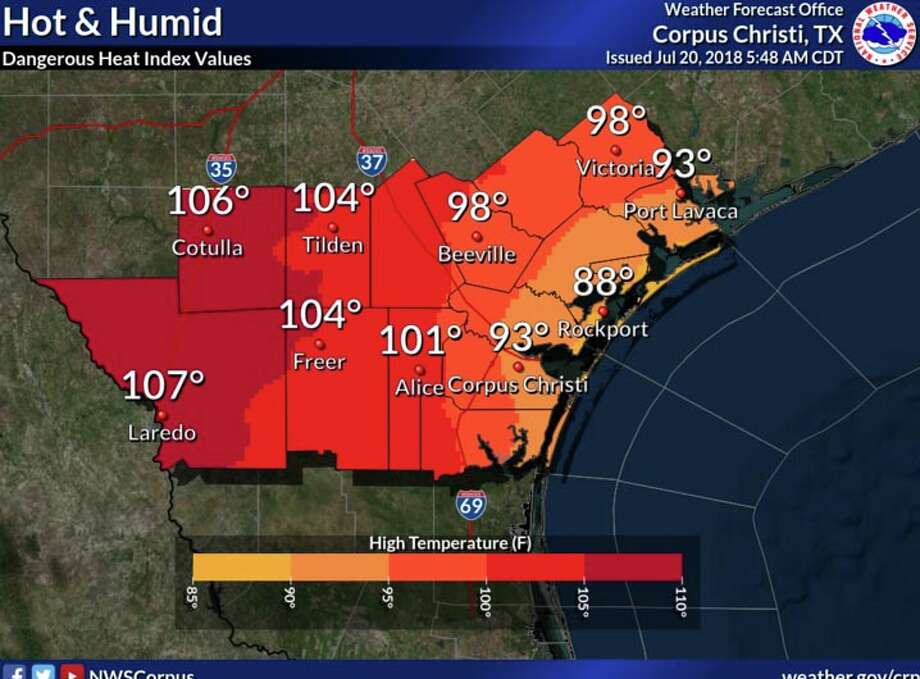 NWS said that heat index values will be dangerous in Laredo and surrounding areas Friday with 105 to 109 degrees over much of the area. Photo: National Weather Service