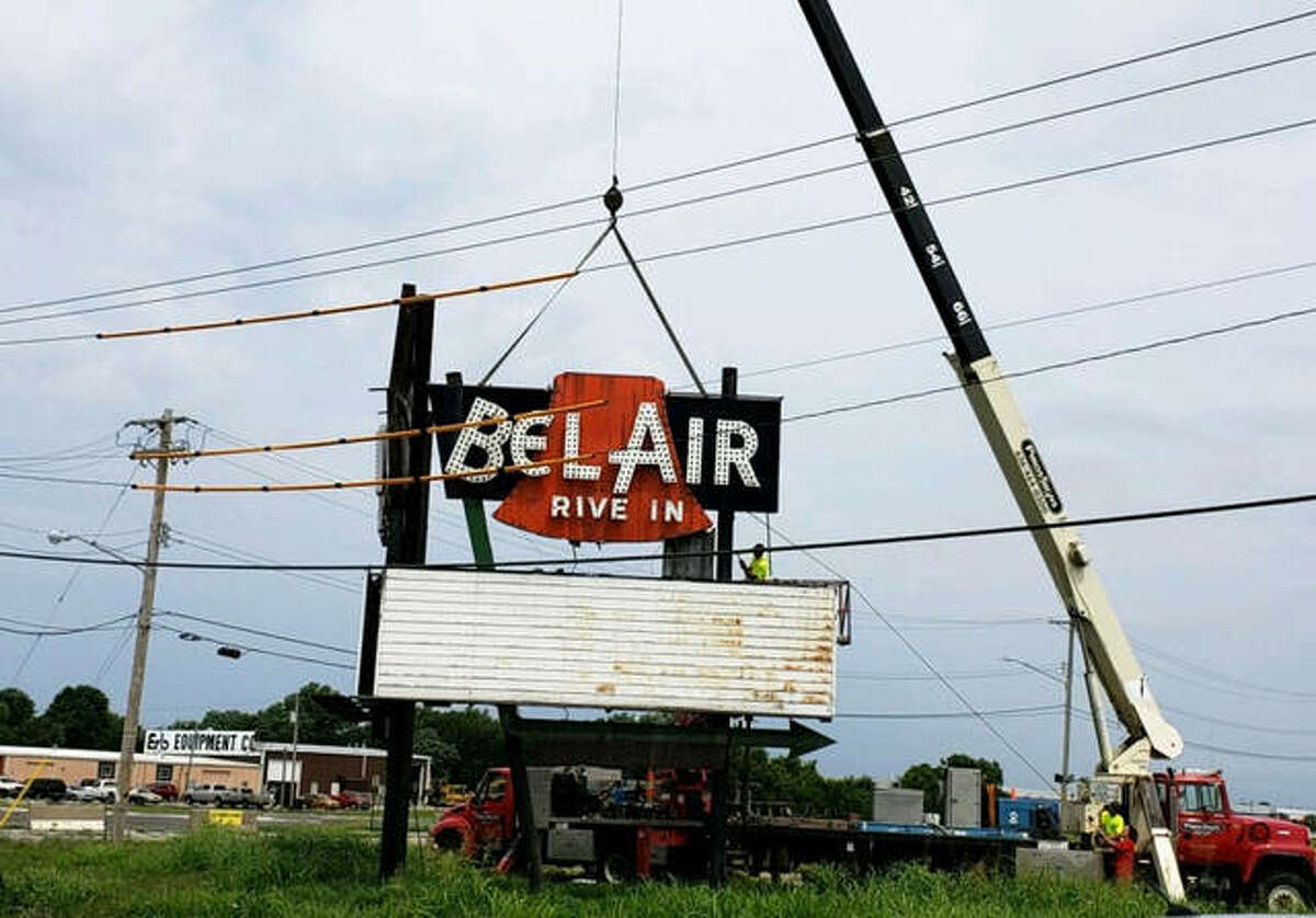 The sign from the Bel-Air Drive-In in Pontoon Beach was dismantled and removed July 19. The property had been sold by developer Larry Manns to an oil company for a convenience store/restaurant/travel stop, and the sign had to be removed. A Highland Park collector had purchased the sign in January, and was finally able to have it removed.