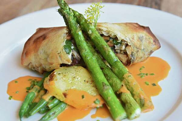 Wiltbank Farm mushroom strudel with goat cheese, and sofrito sauce at Miss Lucy's Kitchen on Thursday, July 12, 2018 in Saugerties, N.Y. (Lori Van Buren/Times Union)