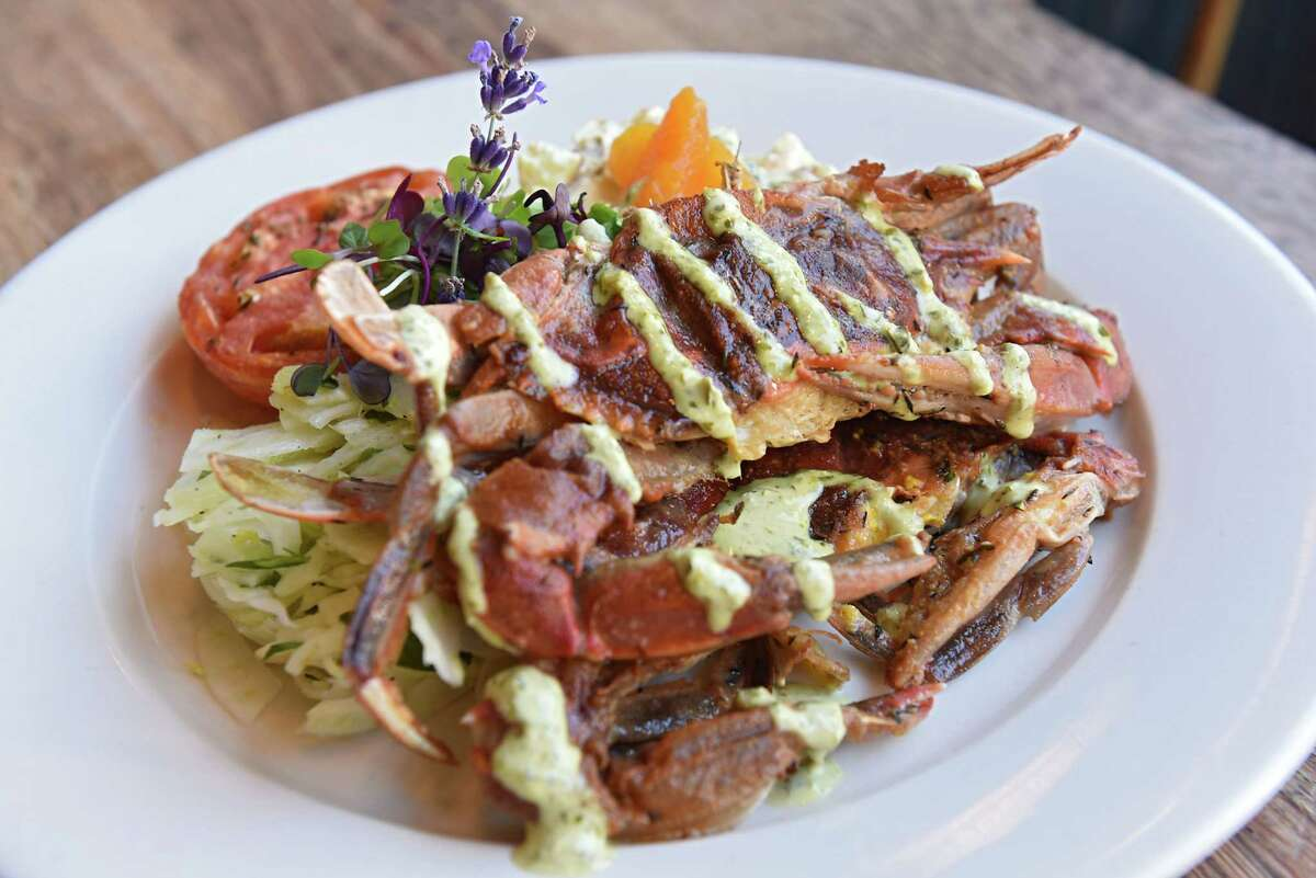 Pan roasted soft shell crabs with potato salad, fennel slaw, and green goddess dressing at Miss Lucy's Kitchen on Thursday, July 12, 2018 in Saugerties, N.Y. (Lori Van Buren/Times Union)