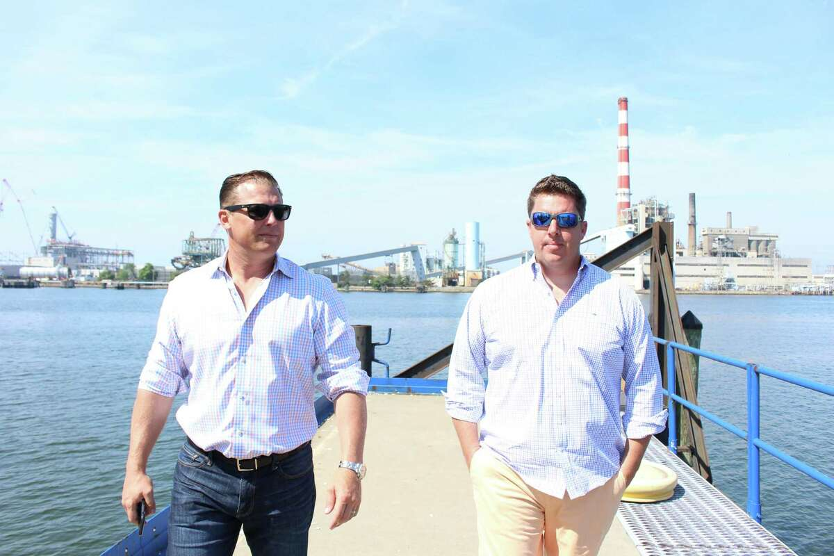 Robert Christoph Jr. and Harry Boardsen, general manager of Groton-based Noank Shipyard which will be operating the new Bridgeport Boatworks.