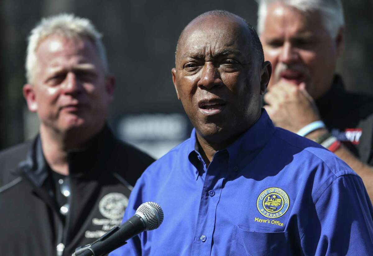 """Houston Mayor Sylvester Turner speaks to the press after he visited and observed the Lake Houston debris removal process on a boat on Friday, July 6, 2018, in Huffman. With Turner out of the country on July 20, 2018, a handful of city council members organized a rare special meeting to push for a Houston firefighters petition seeking pay """"parity"""" with police to appear on the November ballot, but they couldn't muster a quorum and the meeting broke up without a vote."""