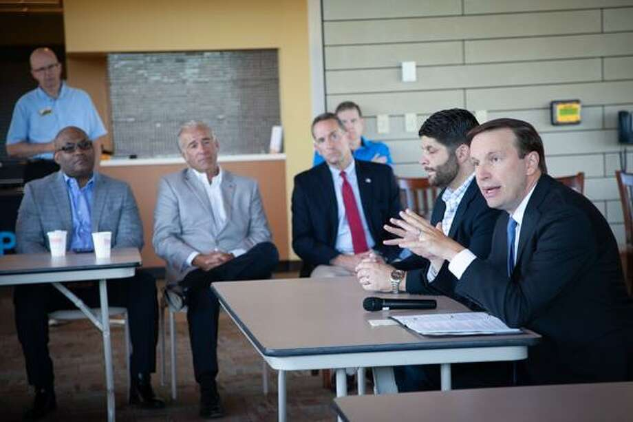 U.S. Sen. Chris Murphy met with veterans Friday morning at Middlesex Community College in Middletown to discuss funding for veterans issues in Washington, D.C. Photo: Thea Moritz Photo