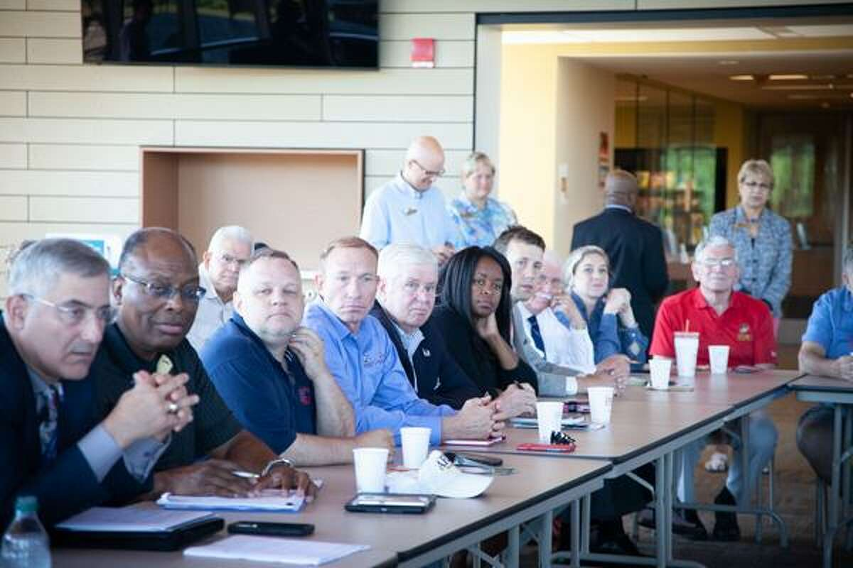 Mayor Dan Drew and state Sen. Paul Doyle attended the forum along with veterans from throughout the state.