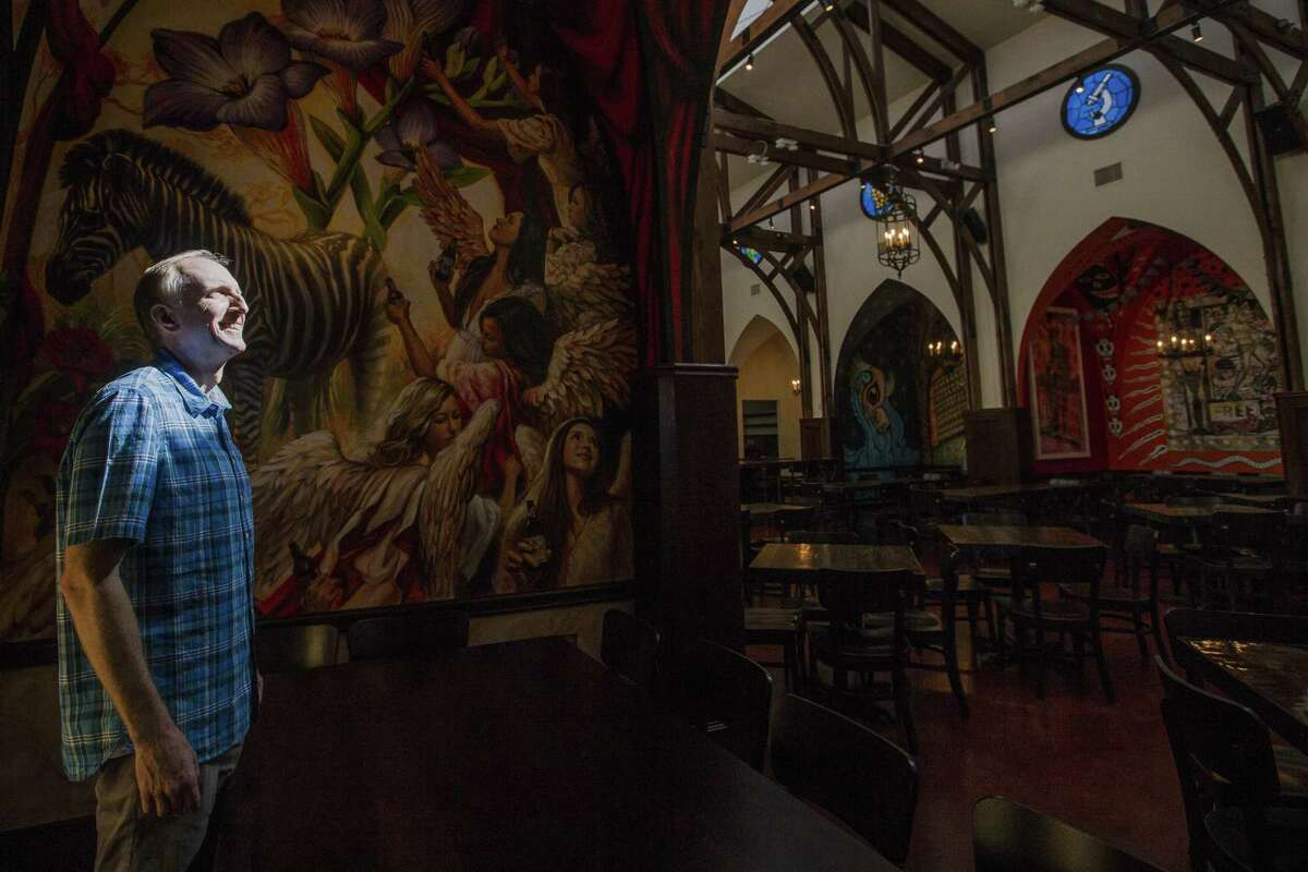 Saint Arnold Brewing Co. owner Brock Wagner stands in the new beer garden July 18, 2018 in Houston. (Michael Ciaglo / Houston Chronicle)