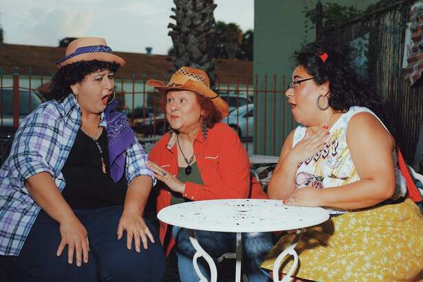 """Claire Orellana, left, Sylvia Armendáriz and Janie Herrera Frederick portray Mexican immigrants who pursue their dreams while working in a tiny sewing factory in East Los Angeles in Pasadena Little Theatre's """"Real Women Have Curves."""""""