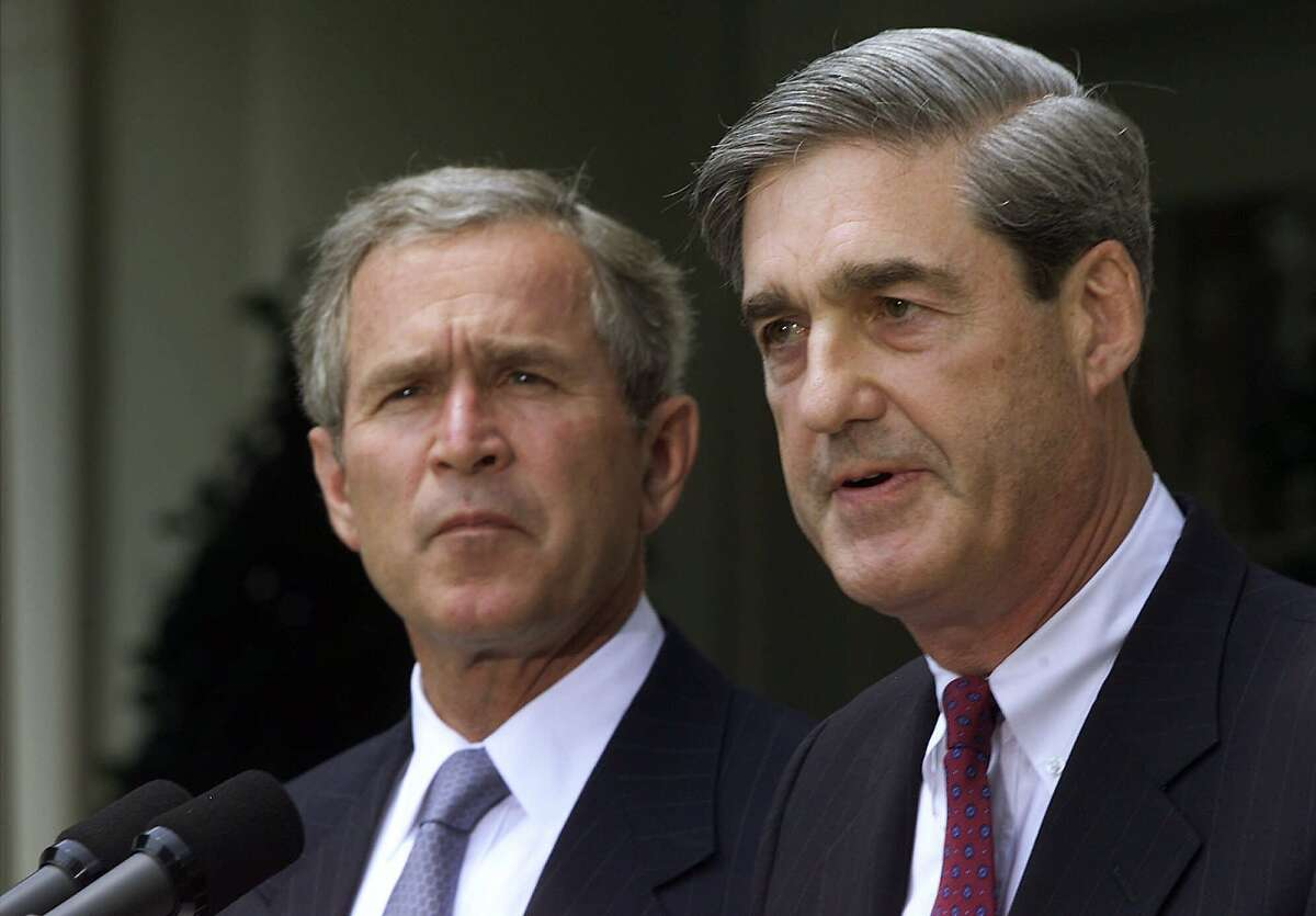 President Bush announces Justice Department veteran Robert S. Mueller, III as his nomination to head the FBI in the Rose Garden at the White House in Washington Thursday, July 5, 2001. (AP Photo/Hillery Smith Garrison)