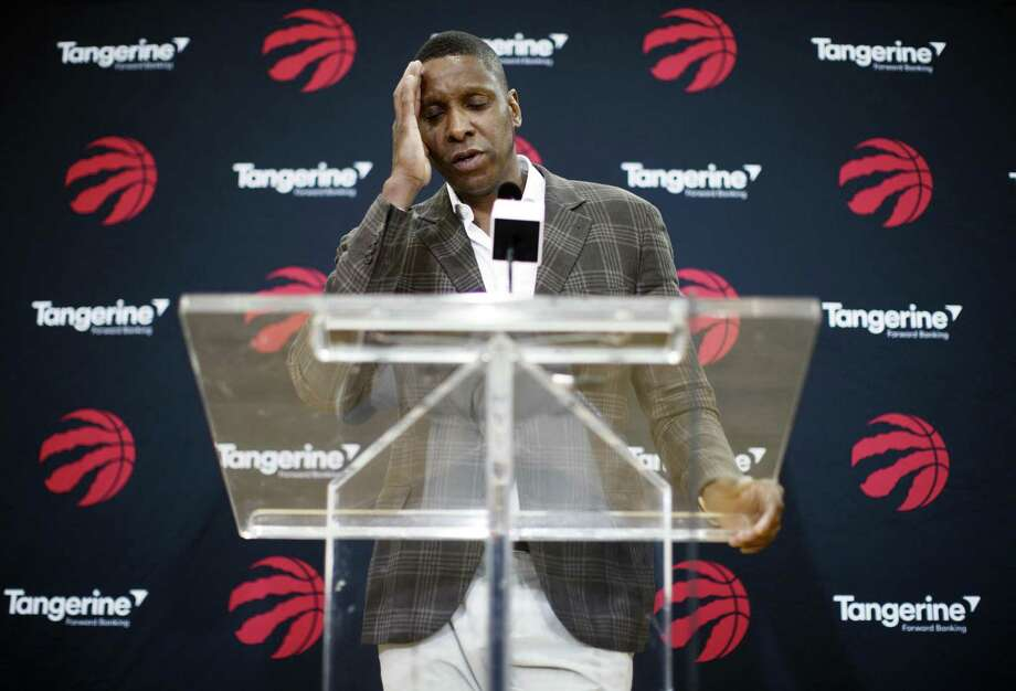 Toronto Raptors NBA basketball team president Masai Ujiri speaks about acquiring Kawhi Leonard in a trade at a media availability in Toronto, Friday, July 20, 2018. (Mark Blinch/The Canadian Press via AP) Photo: Mark Blinch, SUB / Associated Press / The Canadian Press