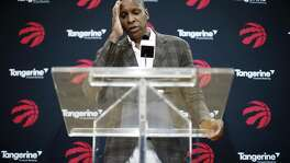 Toronto Raptors NBA basketball team president Masai Ujiri speaks about acquiring Kawhi Leonard in a trade at a media availability in Toronto, Friday, July 20, 2018. (Mark Blinch/The Canadian Press via AP)