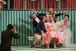 "Charles Sy (left), Cheyanne Coss, Patricia Westley, Zhengyi Bai and Simone McIntosh cut up in Mozart's ""Il Re Pastore."""